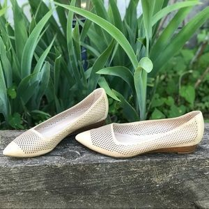 FRANCO SARTO Size 6 tan perforated leather wedge
